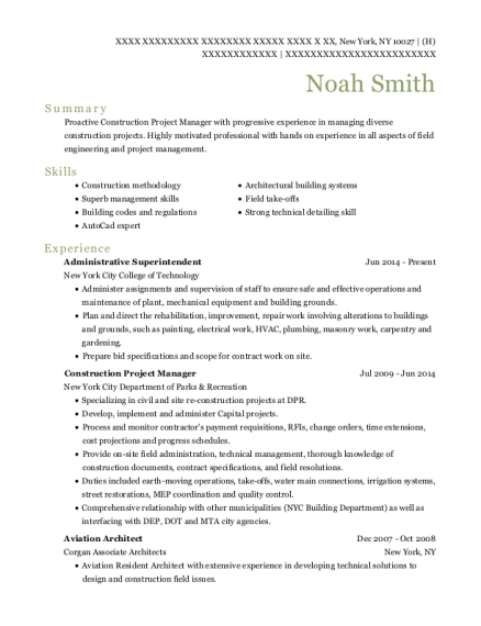Administrative Superintendent resume example New York