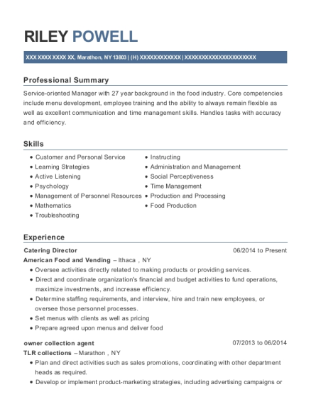Catering Director resume example New York