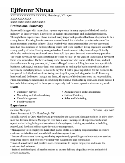 General Manager resume sample New York