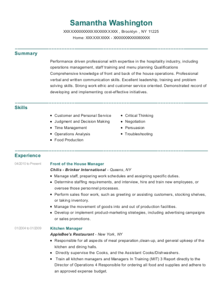 Front of the House Manager resume format New York