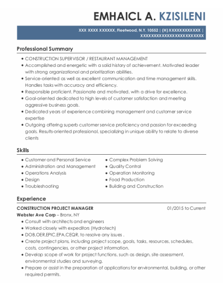 Construction Project Manager resume sample New York