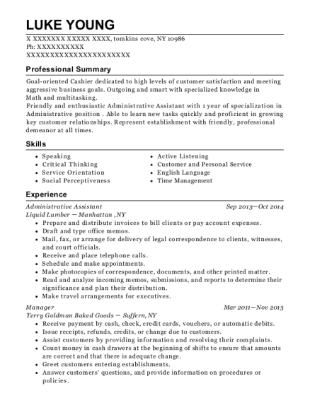 Administrative Assistant resume template New York