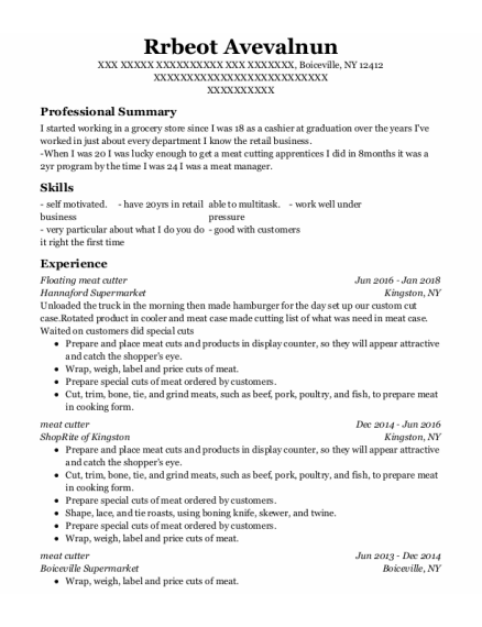 Meat Cutter resume example New York