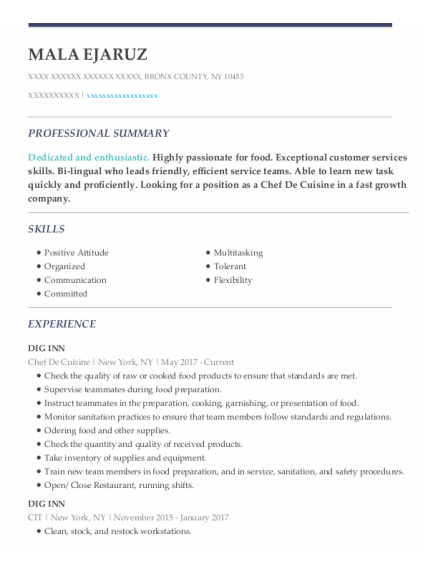 Chef De Cuisine resume example New York