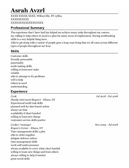 Cook resume format New York