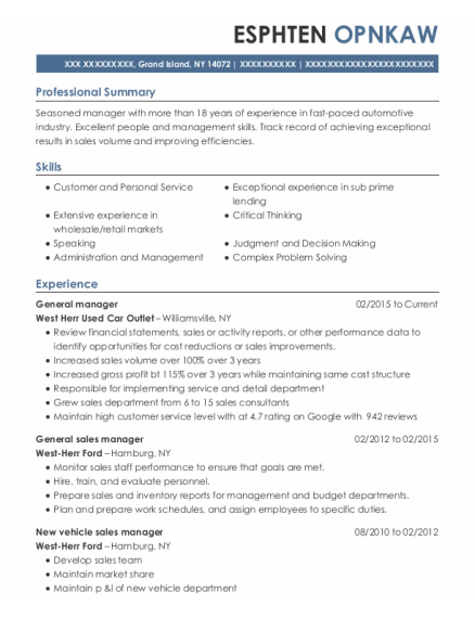 General Manager resume format New York