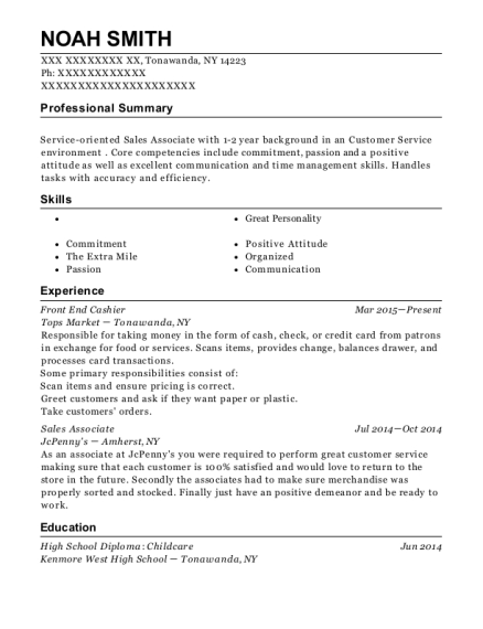 Front End Cashier resume format New York