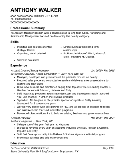 Account Director resume format New York