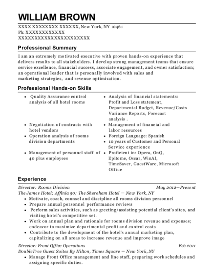 Director Rooms Division resume example New York