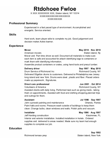 Mover resume example New York
