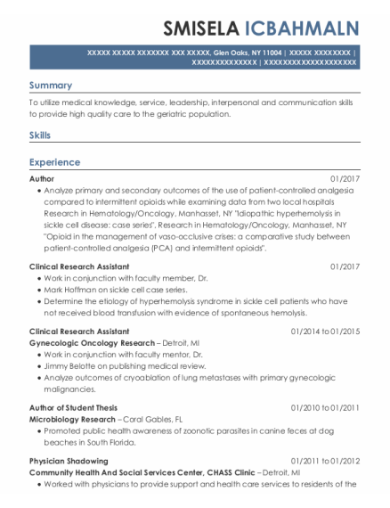 Clinical Research Assistant resume example New York