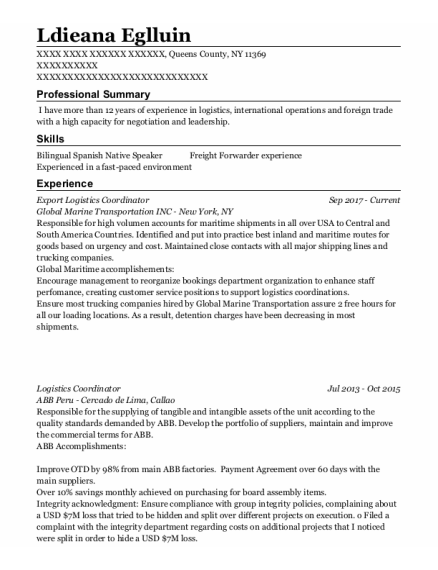 Logistics Coordinator resume example New York