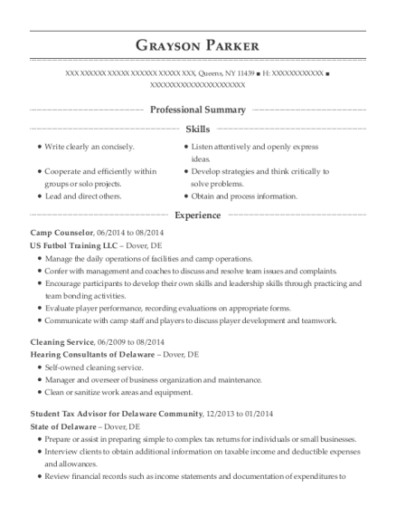 Camp Counselor resume example New York
