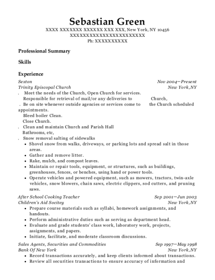 Sexton resume example New York