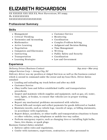Delivery Driver resume format New York