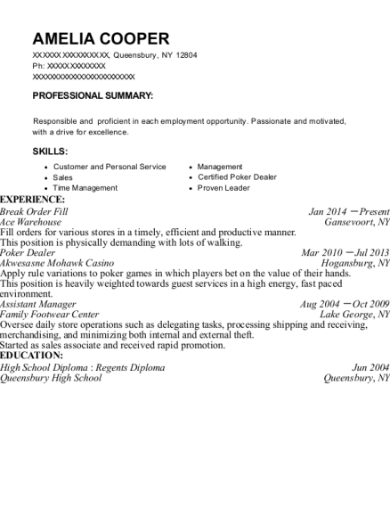 Break Order Fill resume template New York