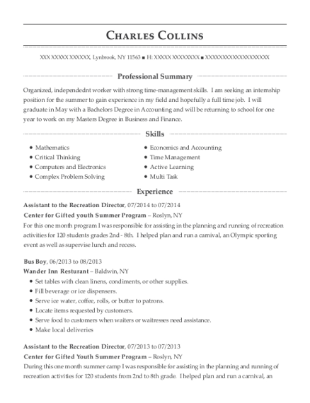 Assistant to the Recreation Director resume example New York