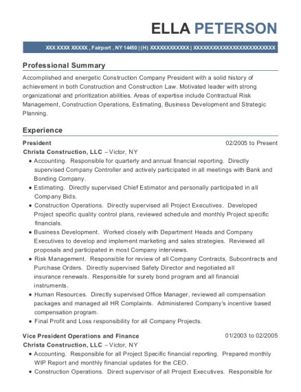 President resume example New York