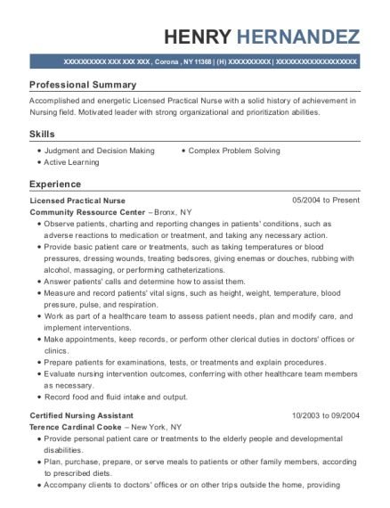 Licensed Practical Nurse resume format New York