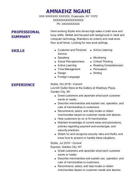 Stylist resume example New York