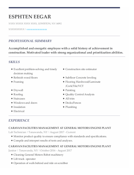 Lab Technician resume template New York