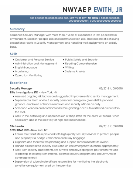 Security Manager resume example New York