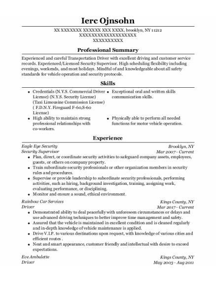 Security Supervisor resume template New York