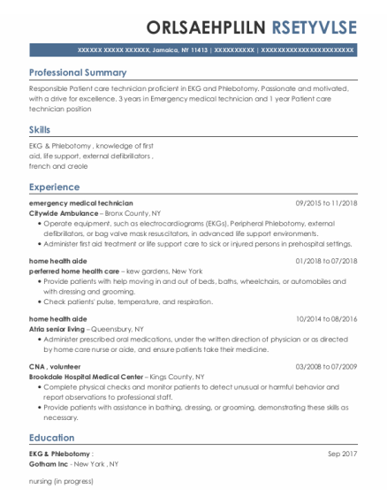 Emergency Medical Technician resume example New York
