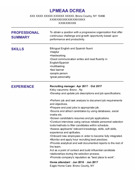 Home Attendant resume example New York
