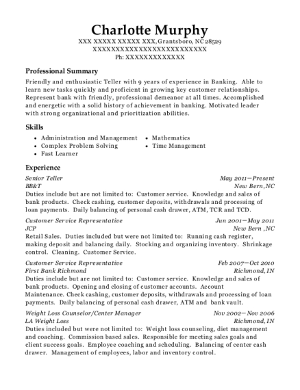 Senior Teller resume sample North Carolina