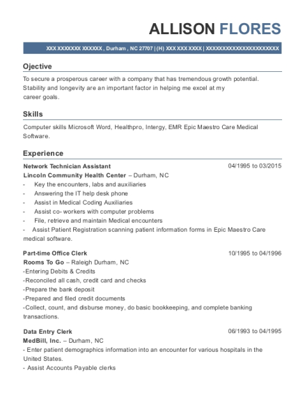 Network Technician Assistant resume sample North Carolina