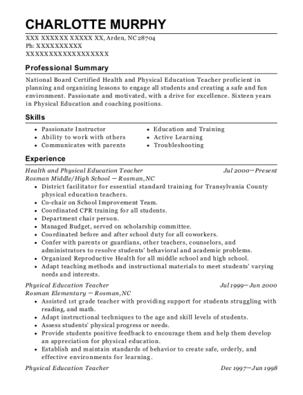 Health and Physical Education Teacher resume template North Carolina