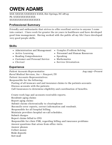 Patient Accounts Representative resume sample North Carolina