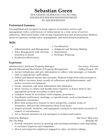 Adminstrative Assistant resume example North Carolina