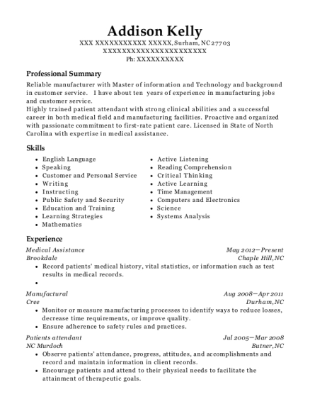 Medical Assistance resume example North Carolina
