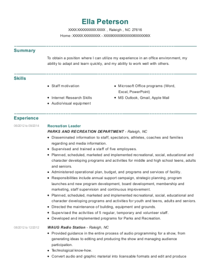 Recreation Leader resume sample North Carolina