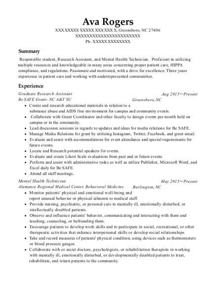 Graduate Research Assistant resume format North Carolina