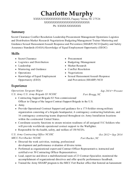 Operations Sergeant Major resume template North Carolina