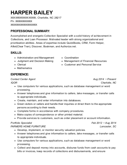 Contact Center Agent resume sample North Carolina