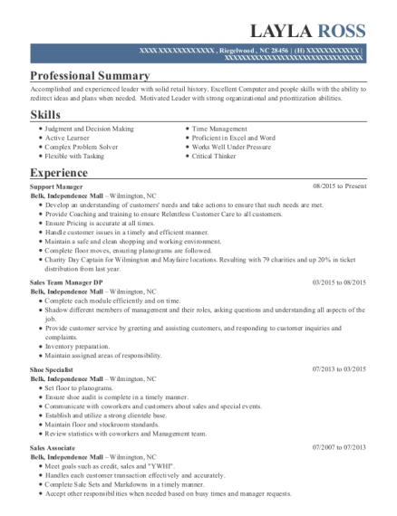 Support Manager resume example North Carolina