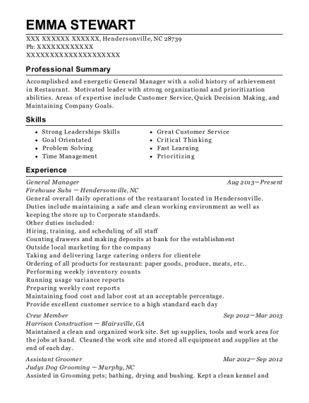General Manager resume sample North Carolina