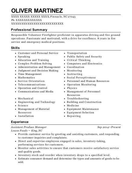 Assistant Produce Manager resume example North Carolina