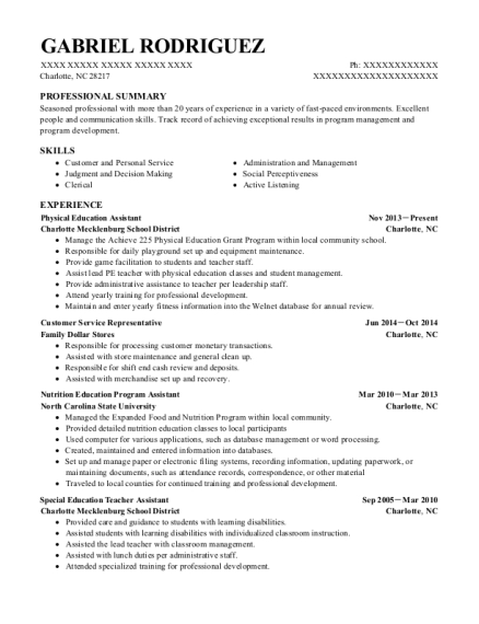 Physical Education Assistant resume format North Carolina