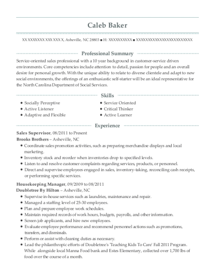 Sales Supervisor resume template North Carolina