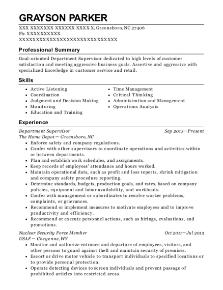 Department Supervisor resume format North Carolina