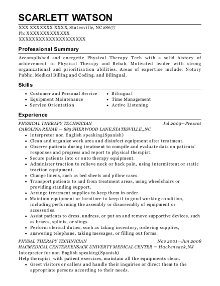 Physical Therapy Technician resume format North Carolina