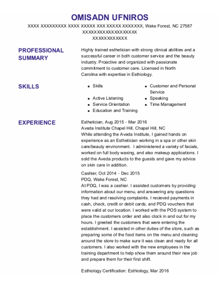 Esthetician resume template North Carolina