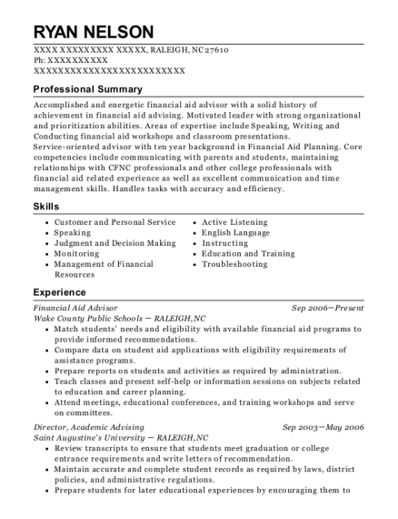 Financial Aid Advisor resume sample North Carolina