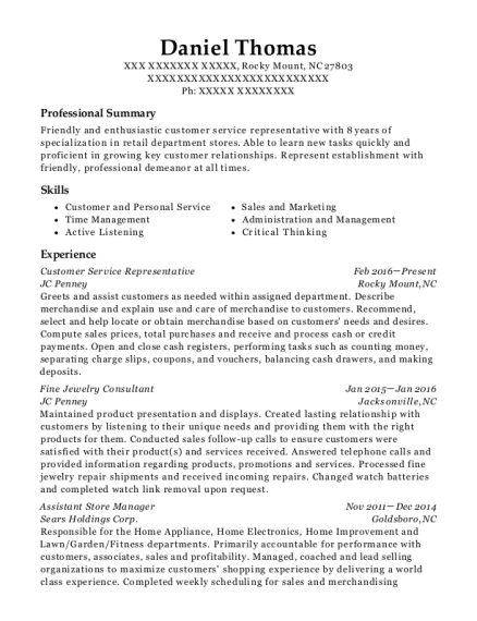 Customer Service Representative resume template North Carolina