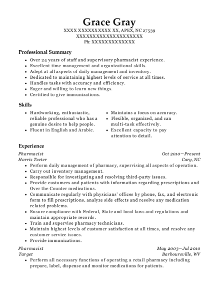 Pharmacist resume template North Carolina